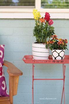 Love the pops of coral and bright summer colors! New vases with colorful flowers really brighten up this summer porch! Summer Front Porches, Summer Porch Decor, Shabby Cottage, At Home Store, Bath Decor, Summer Colors, Porch Decorating, Colorful Flowers, Summer Time