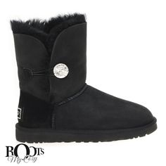 UGG BAILEY BUTTON BLING BLACK BOOTS - WOMEN'S
