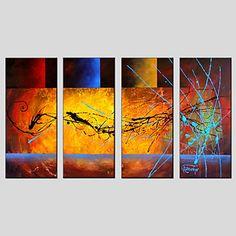 【今だけ☆送料無料】 アートパネル  抽象画4枚で1セット 赤 青 黄 高級【納期】お取り寄せ2~3週間前後で発送予定