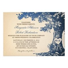 "blue vintage old oak tree wedding invitations beautiful design vintage wedding invitations with blue color old oak tree and bride and groom's names on it's heart shape trunk. I suggest the ""Linen"" or ""Felt"" paper for this design. If you need more additional products (like rsvp, reception, letterheads, wedding stickers etc), please contact me"