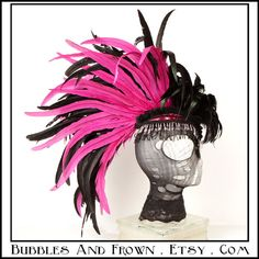 """""""Waking Dream"""" pink and black feather mohawk with beading"""
