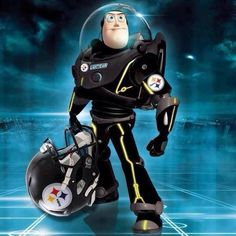 Buzz Lightyear is a Steelers fan, too. Pitsburgh Steelers, Here We Go Steelers, Pittsburgh Steelers Football, Pittsburgh Sports, Best Football Team, Football Memes, Steelers Stuff, Football Season, Watch Football
