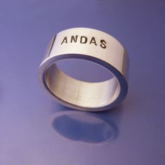 #Andas #Breathe Personlig, handsmidd silverring  #Personalized #jewelry Älskade Barn