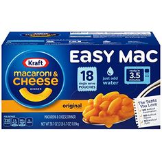 Kraft Easy Mac Original Macaroni and Cheese Dinner 18 Microwaveable Single Serve Packets – Deals Good Boxed Mac And Cheese, Making Mac And Cheese, Easy Mac And Cheese, Cheesy Sauce, Popsugar Food, Macaroni Cheese, Mac Cheese, Cheese Tortellini, School Snacks