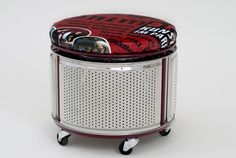 2nd life = funky modern stool. 1st life = washing machine drum. #repurposed #recycled #junk