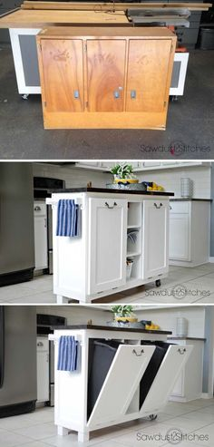 Turn an Old Cabinet to Useful Kitchen Island. Stunning repurpose from old cabinet to perfectly kitchen island! See more instructions. #diyfurniturerepurpose