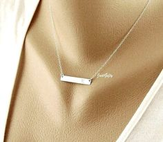Bar Necklace, SILVER Bar Monogram Necklace, Satin Bar Jewelry, Rectangle Initial charm necklace, Contemporary Bridesmaid's gift Idea on Etsy, $27.00