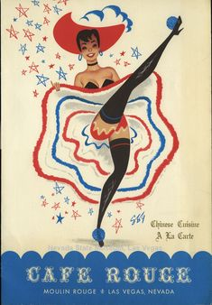 Vintage Las Vegas ~ Menu from the Moulin Rouge Casino, 1955  can can dancer