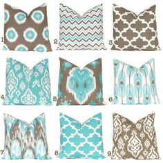 Teal Couch Pillow Covers Pick Your Own Set by CastawayCoveDecor