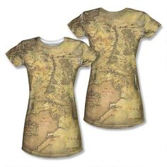 Lord of the Rings Middle-earth Map Juniors Sublimation Print T-Shirt