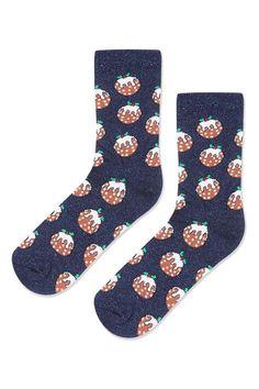Glitter Xmas Pudding Socks