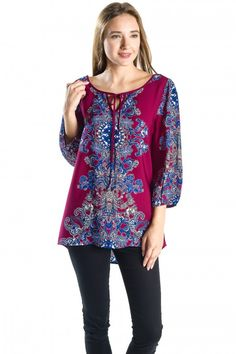 Floral Border Print Blouse, 3/4 Sleeve Top with a Front Tie and Open Back Detail