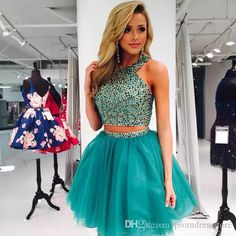 Cheap Soft A-Line Prom Dresses, Prom Dresses Short, Two Pieces Homecoming Dress Teal Homecoming Dresses, Two Piece Homecoming Dress, Prom Dresses Two Piece, Dresses Short, Prom Dresses With Sleeves, A Line Prom Dresses, Modest Wedding Dresses, Dress Prom, Party Dresses