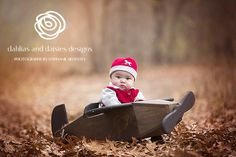 Plano Baby Photographer 5 month old airplane fall leaves