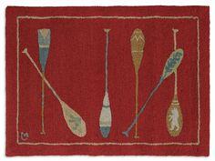 2' x 3' Crimson Paddles, Hand hooked wool rug, Chandler 4 Corners, Manchester VT