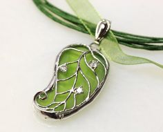 Stained Glass Leaf Filigree Pendant by colorshoppestudio on Etsy, $19.95