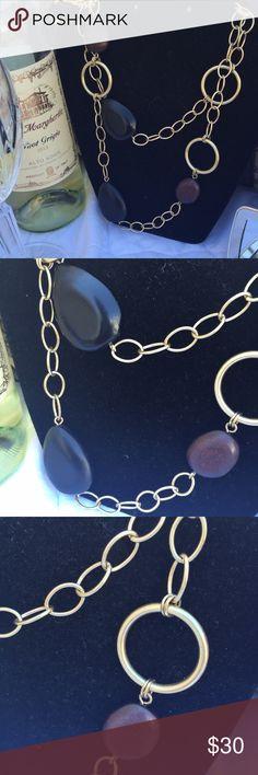 "LIA SOPHIA CHESTNUT Necklace. LIA SOPHIA Collection, CHESTNUT Necklace.  Matte Gold with genuine wood. Size: 44""-47"" Lia Sophia Jewelry Necklaces"