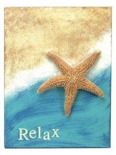 Remind yourself to relax with this wall art painting project. Soft, beach colors, touchable texture and a starfish combine for beautiful decoration for any room
