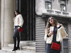 Get this look: http://lb.nu/look/8555817  More looks by Diana Ior: http://lb.nu/dianaior  Items in this look:  Sheinside Faux Fur Jacket, Sheinside Dress, H&M Boots, Stradivarius Pin Set, Venti Shoulder Bag   #chic #romantic #street #outffit #new #fauxfur #fur #fluffy #red