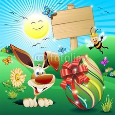 #Funny #Cartoon #Easter #Rabbit on #Spring #Fields with Big #Egg! #Vector© bluedarkat
