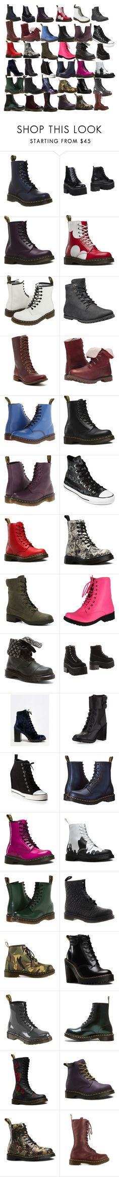 """""""May's Shoe collection :)"""" by nerissa-kirkland ❤ liked on Polyvore featuring Dr. Martens, Jeffrey Campbell, Timberland, Converse, ALDO, Qupid, Report, Tory Burch, DKNY and bored"""