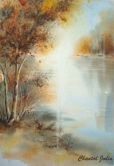 by Chantal Jodin. Watercolor Water, Watercolor Landscape, Abstract Watercolor, Abstract Landscape, Landscape Paintings, Watercolor Paintings, Art Aquarelle, Watercolor Pictures, Nature Artwork