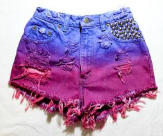 Etsy Transaction -        purple, pink and turquoise ombre / Levi's vintage denim / conical studs  destroyed / high waisted shorts
