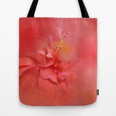 Salmon Hibiscus 2 - Floral Tote Bag by Jai Johnson - $22.00 Floral Tote Bags, Throw Rugs, Hibiscus, Salmon, Reusable Tote Bags, Atlantic Salmon, Chum Salmon, Trout