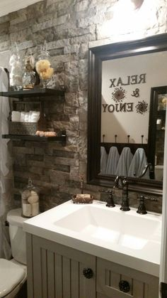 DIY Rustic Bathroom Makeover Using Lowes AirStone As Our Accent Wall Ikea Shelves And