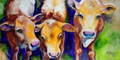 FUN FARM ANIMAL series 2014 is BACK ~ MOO MOO MOO ~ Cow ART original oil painting By Marcia Baldwin