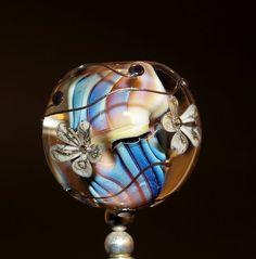flower bead handmade glass bead SRA OOAK by CorneliaLentze on Etsy, $27.00