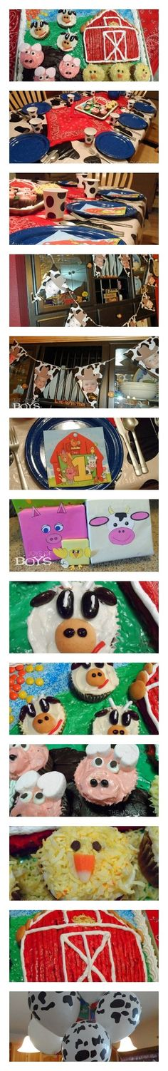 Complete with barnyard cake with farm animal cupcakes, cowboy birthday banner, farm animal presents and western decorations and more.