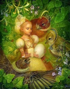Thumbelina and the Egg/Traditional Illustrations by Annie Stegg Fantasy Art, Fantasy Makeup, Earth Design, Fairytale Art, Hans Christian, Wow Art, All Nature, Children's Book Illustration, Book Illustrations