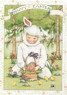 ©Mary Engelbreit by barbra Vintage Cards, Vintage Postcards, Easter Illustration, Friends Illustration, Happy Easter Greetings, Easter Parade, Mary Engelbreit, Easter Printables, Vintage Easter