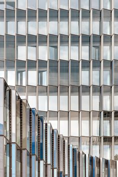 The new KfW building in Frankfurt, Germany has a double-wall facade with a sawtooth-shaped outer skin.