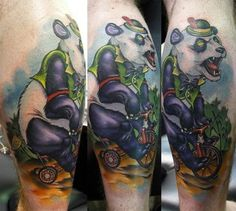 Scotty Munster Panda on a tricycle tattoo