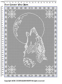 Ravelry: Filet crochet wolf-moon pattern by Vikki Albano aka Viktoria-Lyn