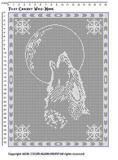 Ravelry: Filet crochet wolf-moon pattern by Vikki Albano aka Viktoria-Lyn