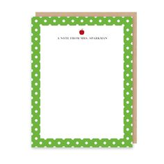 Dots with Apple Teacher Stationery (Note Card) - The crips apple green with white polka dot patterned border with a red apple accent and classic font makes this personalized/custom stationery the perfect gift for any teacher or school staff member with their name or monogram.