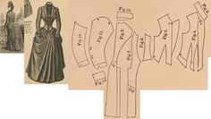 Der Bazar 1886: Walking or travelling dress from dark blue woollen with dark blue silk-reps trimmings; 4. bodice's front lining part, 5. bodice's front over part, 6. and 7. side gores, 8. back part, 9. standing collar in half size, 10. rolled collar in half size, 11. and 12. sleeve parts, 13. cuff in half size
