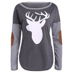 18.17$  Buy here - http://di9sy.justgood.pw/go.php?t=200986201 - Christmas Elbow Patch Reindeer Print Tee 18.17$