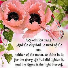 "Revelation 21:23 [KJV]  ~ ""And the city had no need of the sun, neither of the moon, to shine in it:  for the glory of God did lighten it and the Lamb is the Light thereof."""