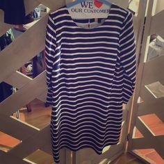 Jcrew striped dress Preppy nautical inspired jcrew striped dress . 100% polyester J. Crew Dresses Mini
