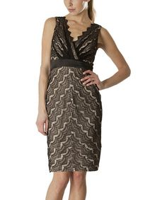 Take a look at this Black & Nude Lace V-Neck Dress - Women by JS Collections on #zulily today!