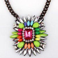 Shorouk Style Chunky Pendant Necklace Multi Color Pink Stone