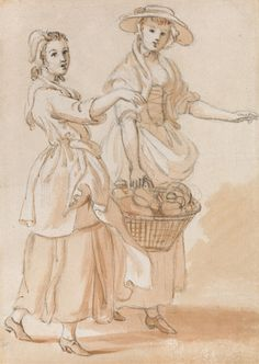 Paul Sandby, 1731-1809, British, Two Girls Carrying a Basket, undated, Graphite, watercolor gouache and pen and brown ink on medium, cream, slightly textured laid paper, Yale Center for British Art, Paul Mellon Collection
