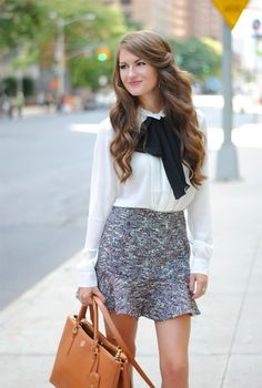 Spring 2015 Street Style Looks Collection - Classical White shear button up with black bow detail. Purple and white shaded tweed skirt and brown bag. Girl Fashion, Fashion Outfits, Womens Fashion, Fashion Trends, Fall Outfits, Estilo Geek, Preppy Style, My Style, Southern Curls And Pearls