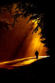 walking down the path at sunset..