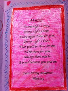 Poems For Mothers Day Cards From Kids  Poetry For Children