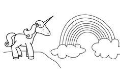 Ausmalbild Märchen: Einhorn und Regenbogen kostenlos ausdrucken